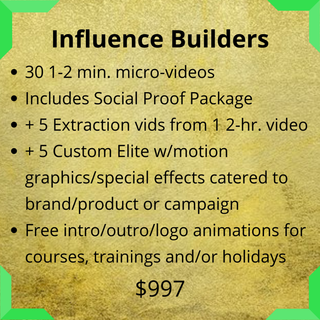 influence, video services, video creation, video agency